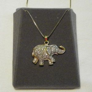 Vintage 925 cubic zirconia elephant necklace